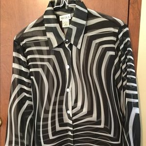 Nicola Black and White Striped Button Up Blouse